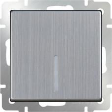 LED/Выключатель одноклавишный проходной с подсветкой (глянцевый никель)