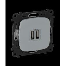 Legrand Valena ALLURE Алюм Розетка 2-ая USB 240В/5В 1500мА (с лицевой панелью)